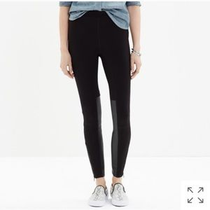 Madewell Leggings with Leather & Zipper Details